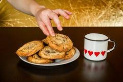 Les biscuits de puces de chocolat suisses ont arrangé sur une table Photo stock