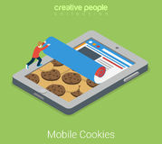 Les biscuits mobiles marquent sur tablette le vecteur 3d isométrique plat de technologie Photo libre de droits