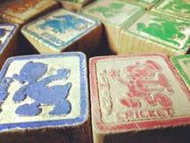 Les blocs colorés des vieux enfants de vintage Photos stock