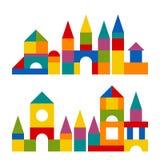 Les blocs colorés jouent la tour de bâtiment, château, maison illustration stock