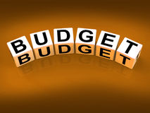 Les blocs de budget montrent la planification financière et Photographie stock libre de droits