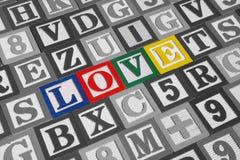 Les blocs en bois définissent l'amour Image stock