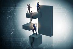 Les blocs s'élevants d'homme d'affaires dans le concept d'affaires d'échelle de carrière Image stock