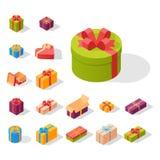 Les boîte-cadeau emballent l'illustration isométrique de salutation de vecteur d'anniversaire d'événement de composition illustration stock