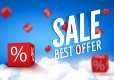 les boîtes de la remise 3D découpent pour le marché de magasin et font des emplettes Affiche de la meilleure offre de vente ou br Photographie stock libre de droits