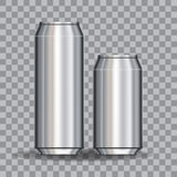 Les boîtes en aluminium vident 500 et 330 ml sur la conception et le marquage à chaud de gridfor de transparent Illustration cour Image libre de droits