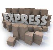 Les boîtes en carton exprès de 3d Word ont accéléré le service de distribution rapide Images stock