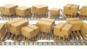 Les boîtes en carton progresse le long de l'animation loopable de bande de conveyeur la courroie enferme dans une boîte le convoy illustration libre de droits