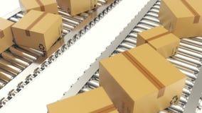 Les boîtes en carton progresse le long de l'animation loopable de bande de conveyeur la courroie enferme dans une boîte le convoy illustration stock