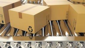 Les boîtes en carton progresse le long de l'animation loopable de bande de conveyeur la courroie enferme dans une boîte le convoy illustration de vecteur