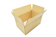 Les boîtes en carton s'ouvrent sur le fond blanc Image libre de droits