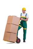 Les boîtes mobiles de jeune homme avec le chariot d'isolement sur le blanc Photo libre de droits