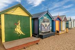 Les boîtes se baignantes colorées à Brighton échouent à Melbourne, Australi photos stock