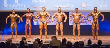 Les bodybuilders masculins fléchissent leurs muscles et montrent leur meilleur photos stock
