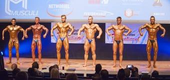 Les bodybuilders masculins fléchissent leurs muscles et montrent leur meilleur images libres de droits