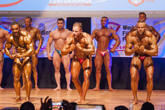 Les bodybuilders masculins fléchissent leurs muscles pour montrer leur physique images stock