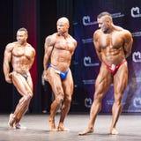 Les Bodybuilders montrent leur physique sur l'étape dans le championnat Photographie stock