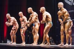 Les Bodybuilders montrent leur pose plus musculaire dans la comparaison de ligne photographie stock
