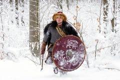 Les bois forts d'hiver de guerrier de Viking de portrait luttent l'avant profond d'habillement de bûcheron de cotte de maille de  Image libre de droits