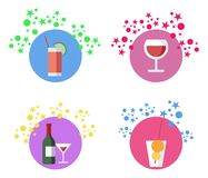 Les boissons, cocktails dirigent l'ensemble d'illustrations illustration stock