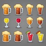Les boissons de bande dessinée, dirigent les objets brillants d'american national standard d'icônes pour votre APP ou Illustration Stock