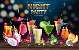 Les boissons de cocktail dirigent la bannière réaliste Calibre de partie de nuit avec la collection de boissons d'été illustratio image stock