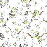 Les bonhommes de neige mignons ont répété dans le modèle de vacances d'hiver illustration stock