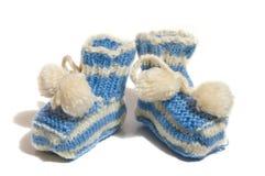 Les bootees de la chéri de knit de gosses Photo libre de droits