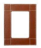 les bords bruns encadrent le cuir Photo stock