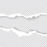 Les bords de papier déchirés, fond sans couture donnent une consistance rugueuse horizontalement, vecteur d'isolement dans l'espa illustration stock