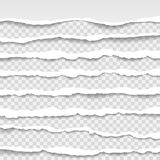 Les bords de papier déchirés, sans couture donnent une consistance rugueuse horizontalement, vecteur d'isolement dans l'espace po illustration stock