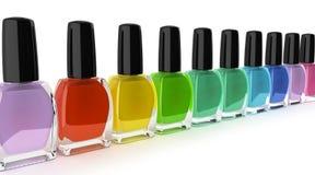 Les bottels colorés 3d de vernis à ongles rendent sur le fond blanc Photographie stock libre de droits