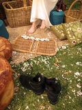 Les bottes d'enfant de fleur Image stock