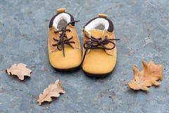 Les bottes de bébé dans la forêt badinent des chaussures avec des feuilles d'automne dehors Photos stock