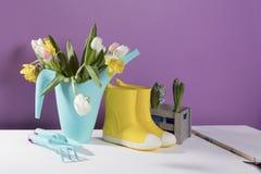 Les bottes en caoutchouc jaunes avec un bouquet des fleurs des jonquilles jaunes et des tulipes blanches et roses Accessoires de  Photos libres de droits