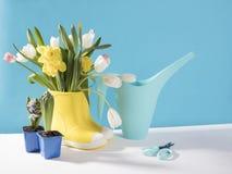 Les bottes en caoutchouc jaunes avec un bouquet des fleurs des jonquilles jaunes et des tulipes blanches et roses Accessoires de  Photographie stock libre de droits