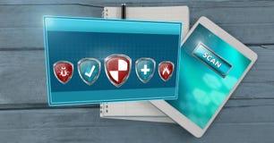 Les boucliers de protection de sécurité d'antivirus émergeant du comprimé balayent Photographie stock