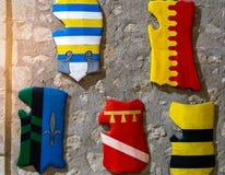 Les boucliers médiévaux Images stock