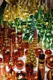 Les bougies d'or Shinning de Noël au marché de Noël luttent dedans Photo libre de droits
