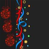Les boules décoratives, confettis, tient le premier rôle des flocons de neige d'american national standard sur le backgro foncé Images stock