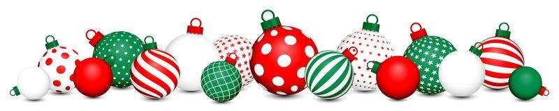 Les boules de Noël de bannière modèlent le blanc vert rouge illustration de vecteur