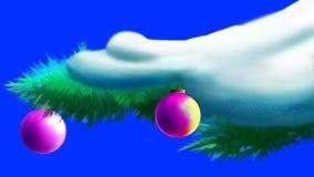 Les boules de Noël sur une neige ont couvert la branche de pin illustration libre de droits