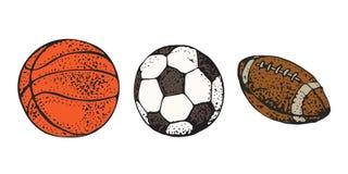 Les boules de sport ont placé l'illustration de vecteur d'isolement sur le fond blanc Football américain, rugby, basket-ball et f illustration de vecteur