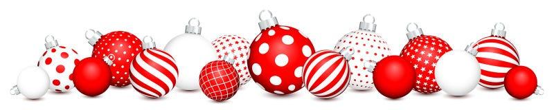 Les boules horizontales de Noël de bannière modèlent rouge et blanc illustration de vecteur