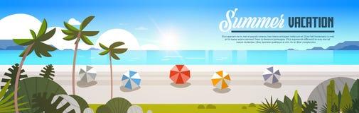 Les boules tropicales de Palm Beach de lever de soleil regardent l'espace horizontal de copie de bannière plate d'océan de mer de Illustration Stock