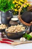 Les boulettes chaudes de viande de cuisine russe ont servi avec des herbes Photos libres de droits