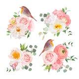 Les bouquets colorés de ressort et le vecteur mignon d'oiseaux de merle conçoivent des objets illustration libre de droits