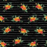 Les bouquets de fleur d'automne sur le vecteur sans couture de rayures noires et blanches répètent le fond de modèle Conception f illustration de vecteur