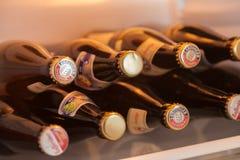 Les bouteilles à bière diverses se situe dans un réfrigérateur photo libre de droits