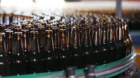 Les bouteilles brunes de bière se déplacent le long de la bande de conveyeur banque de vidéos